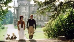 Lizzy and Mr. Darcy walking near Pemberley's main hall (Lyme Hall).